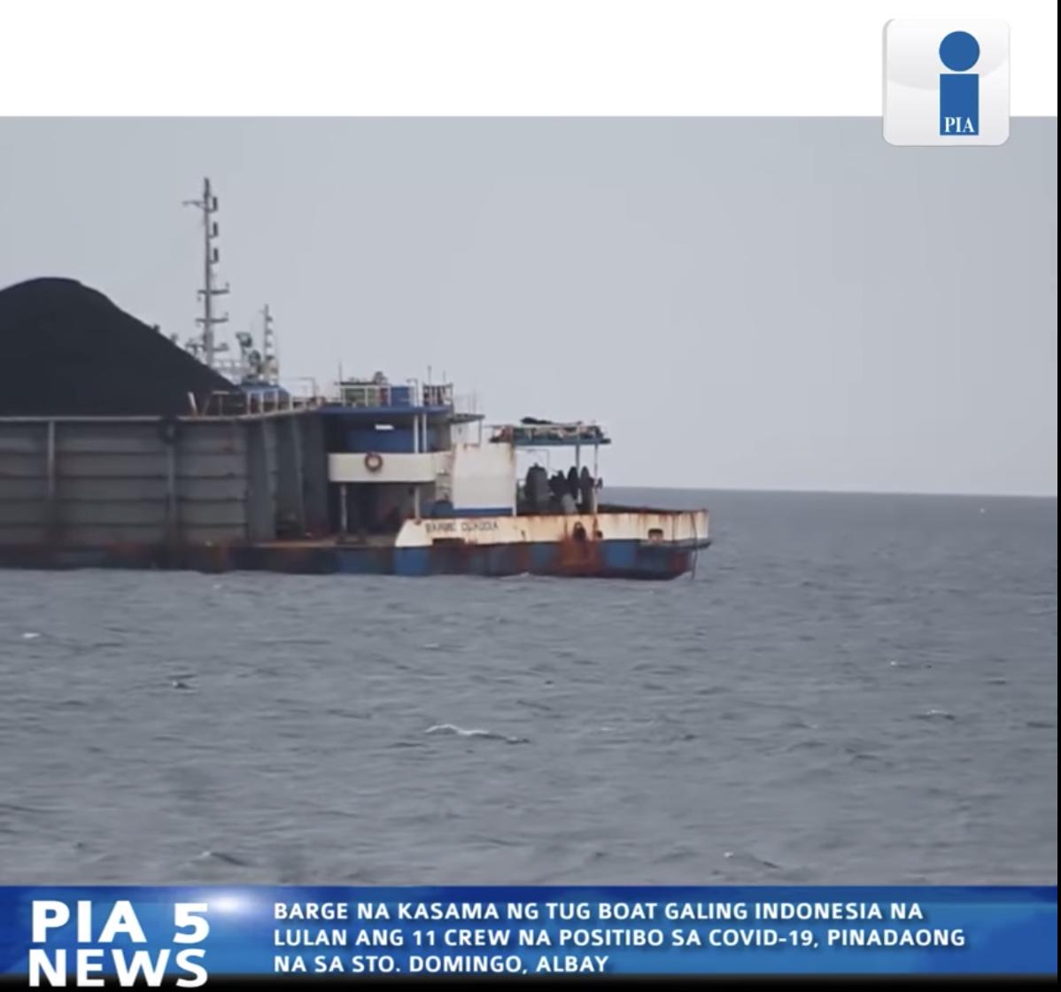 Barge na galing Indonesia pinadaong na sa Albay