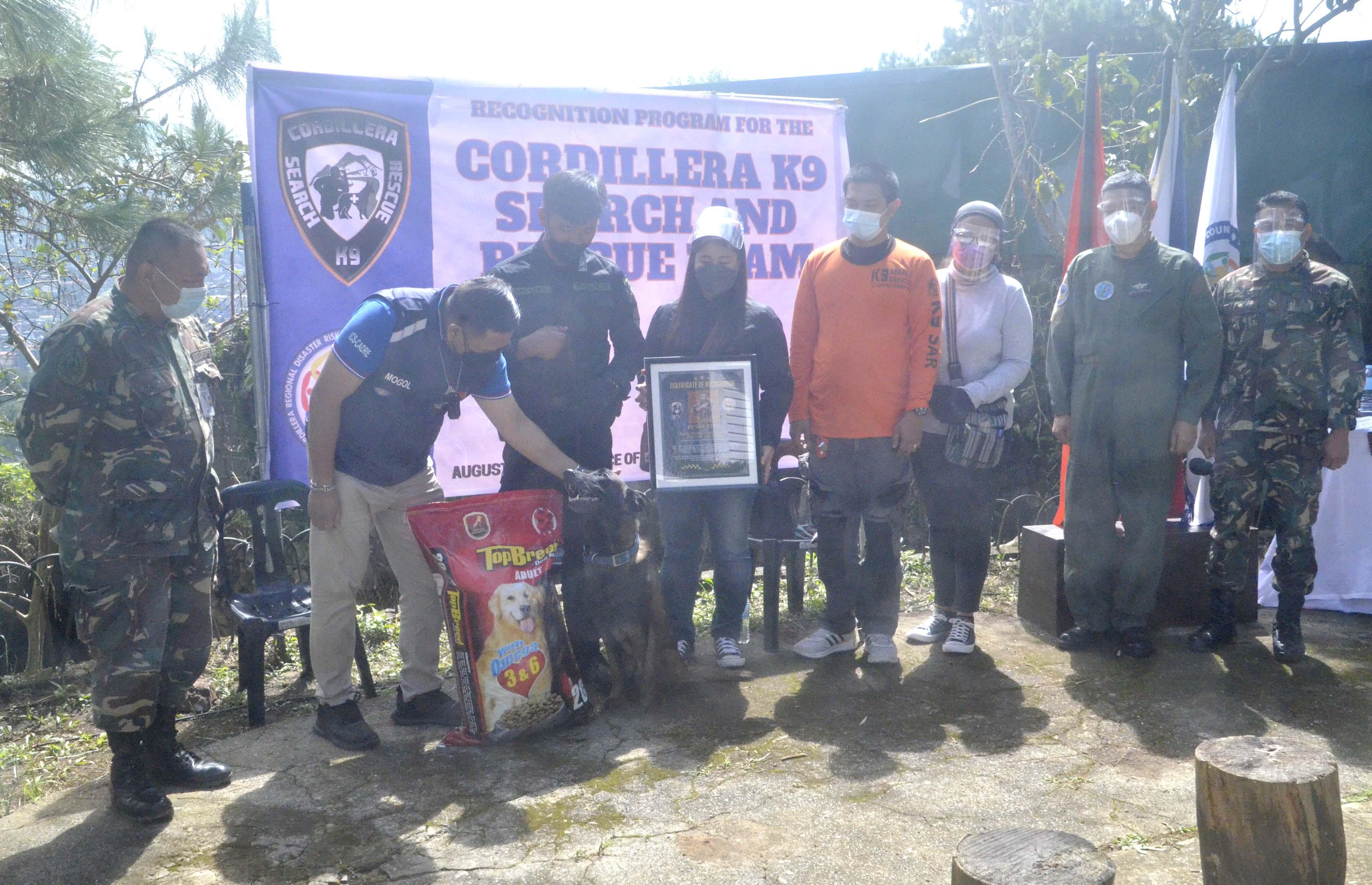K9 SAR dog Zeus recognized in SAR Operations in Itogon, Benguet